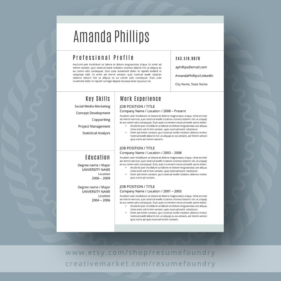 Modern Resume Template for Word, 13 Page Resume + Cover