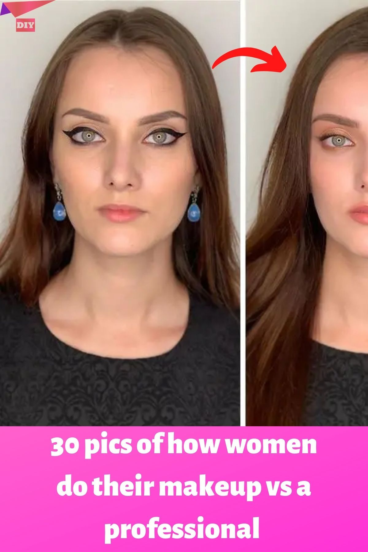 30 Pics Of How Women Do Their Makeup Vs A Professional In 2020 Putting On Makeup Diy Life Hacks Just Amazing