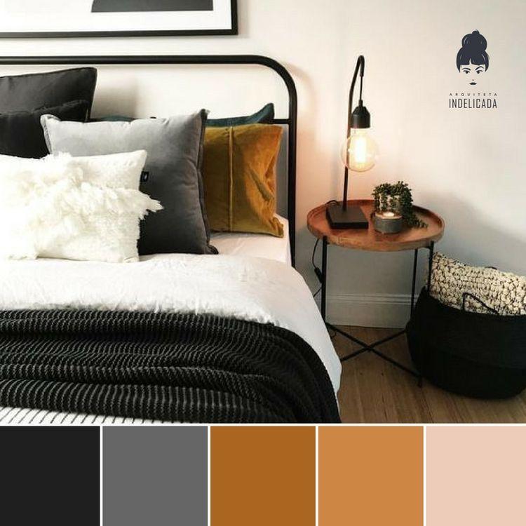 Bedroom Masculine Black White Grey Gold Colour Palette Home