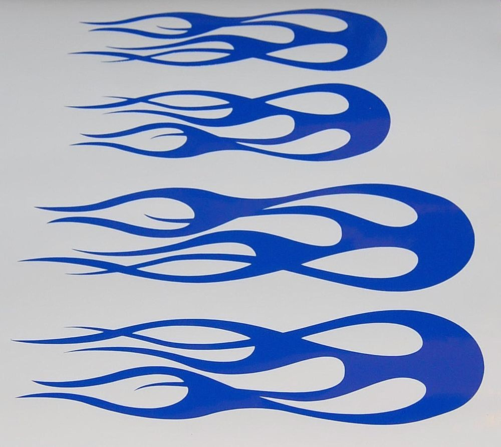 Custom Flame Vinyl Decals Bike Helmet Stickers Blue Set Of New - Helmet custom vinyl stickers