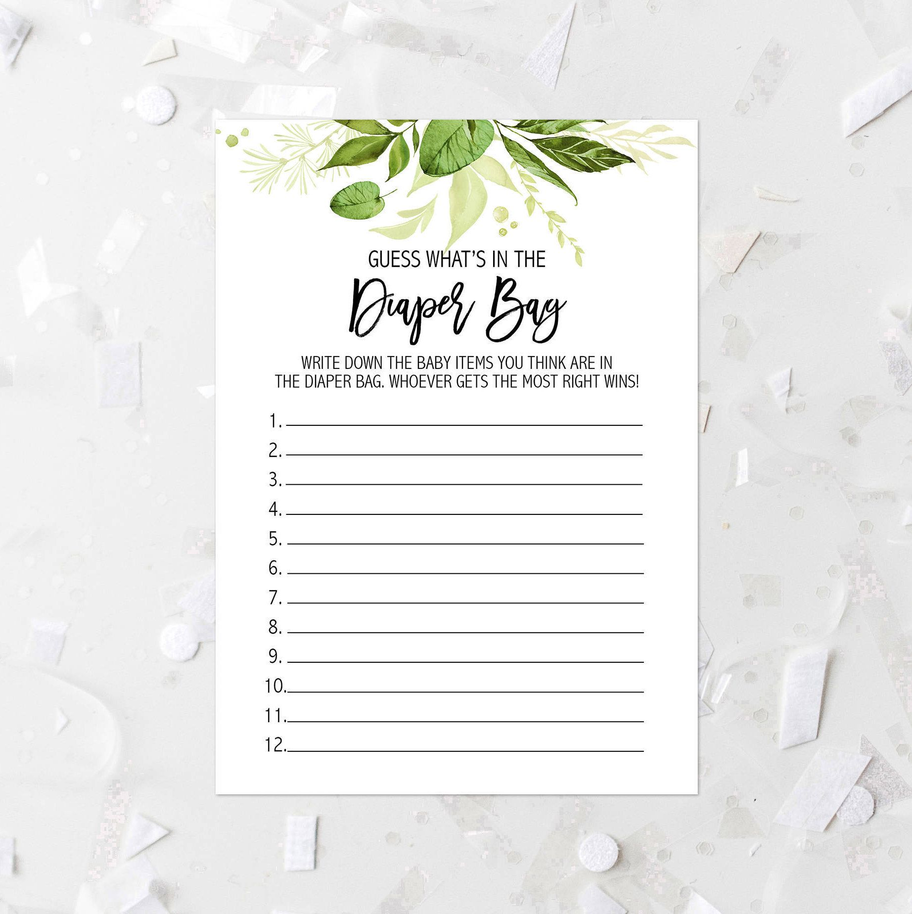 Greenery Guess Whatu0027s In The Diaper Bag Baby Shower Game Printable Green  Leafy Baby Shower Guessing Games Botanical Baby Shower Activity 263 By ...