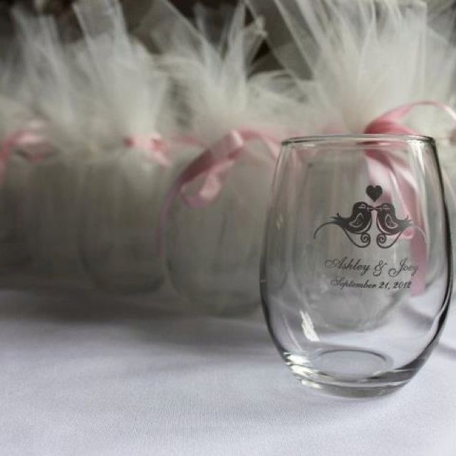 BRIDAL SHOWER or WEDDING FAVOR: Stemless Wine Glasses Wrapped in ...
