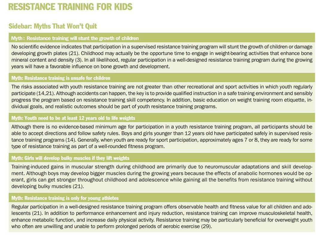 Myths surrounding resistance training for youths
