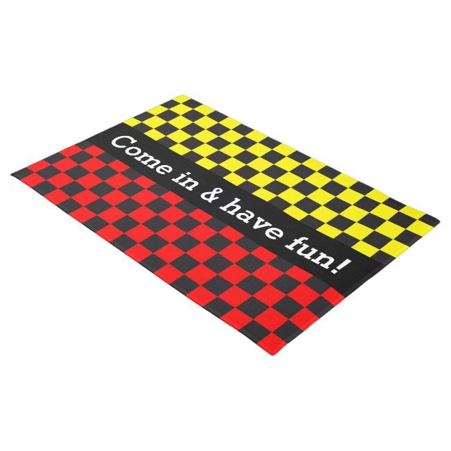 Car Racing / Chess Pattern + Your Backgr. & Ideas Doormat