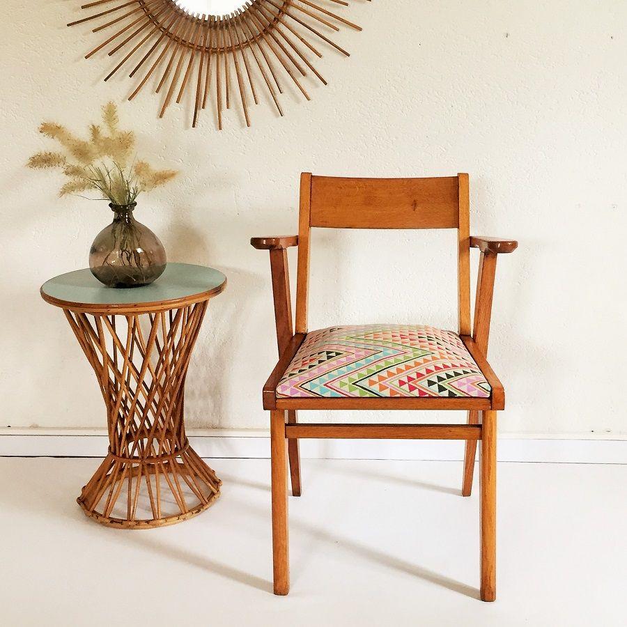 siege fauteuil bridge vintage bois tissus chouette fabrique 2