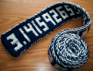 Celebrate Pi Day with a knitted Pi scarf!  I made this for my favorite math geek, my sister.  I changed the chart for a worsted weight yarn - Berroco Modern Cotton (60% pima cotton, 40% rayon).    My results are here:  http://www.ravelry.com/projects/knitforfood/pi-digits-scarf