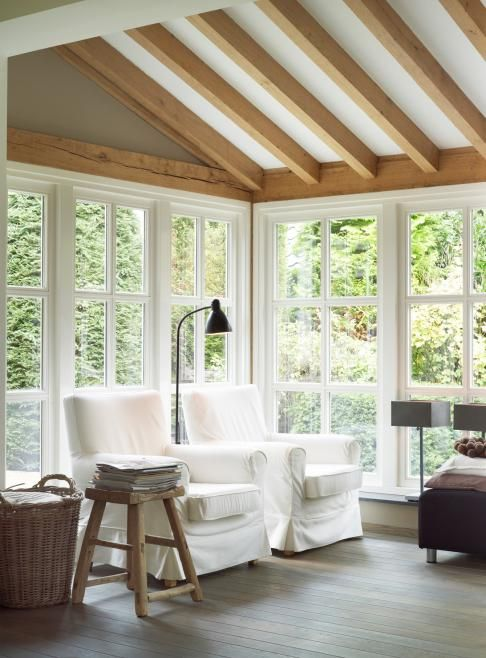 Rustic Modern Sunroom Sun Porch With Exposed Beam Ceiling