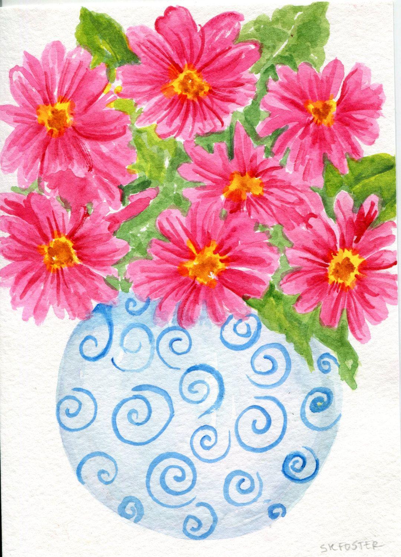 Pink Peonies Watercolor Painting Original Blueand White Vase