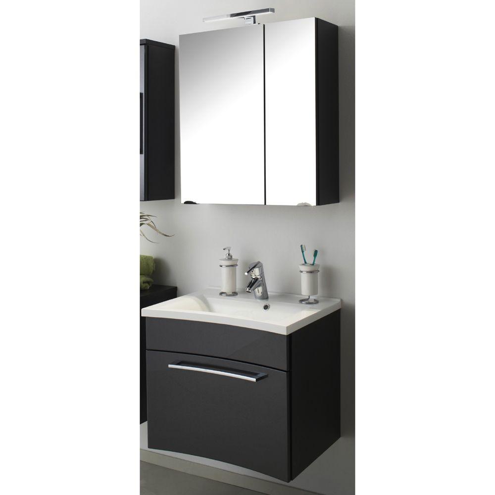 Badezimmer Waschplatz Set KANSAS Hochglanz anthrazit Jetzt bestellen ...