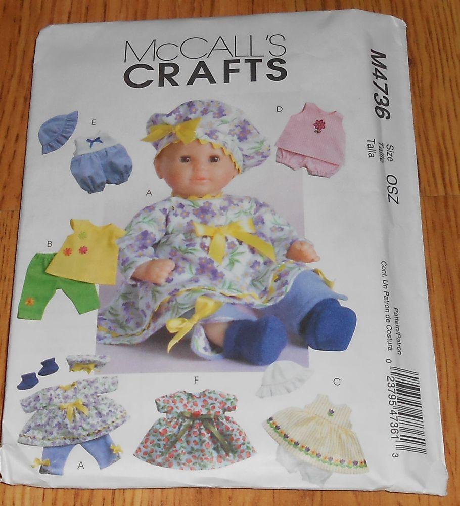 Mccall S Sewing Pattern 4736 Baby Doll Clothes 11 13 14 16 Dress Hat Mccalls Baby Doll Clothes Mccalls Sewing Patterns Doll Clothes