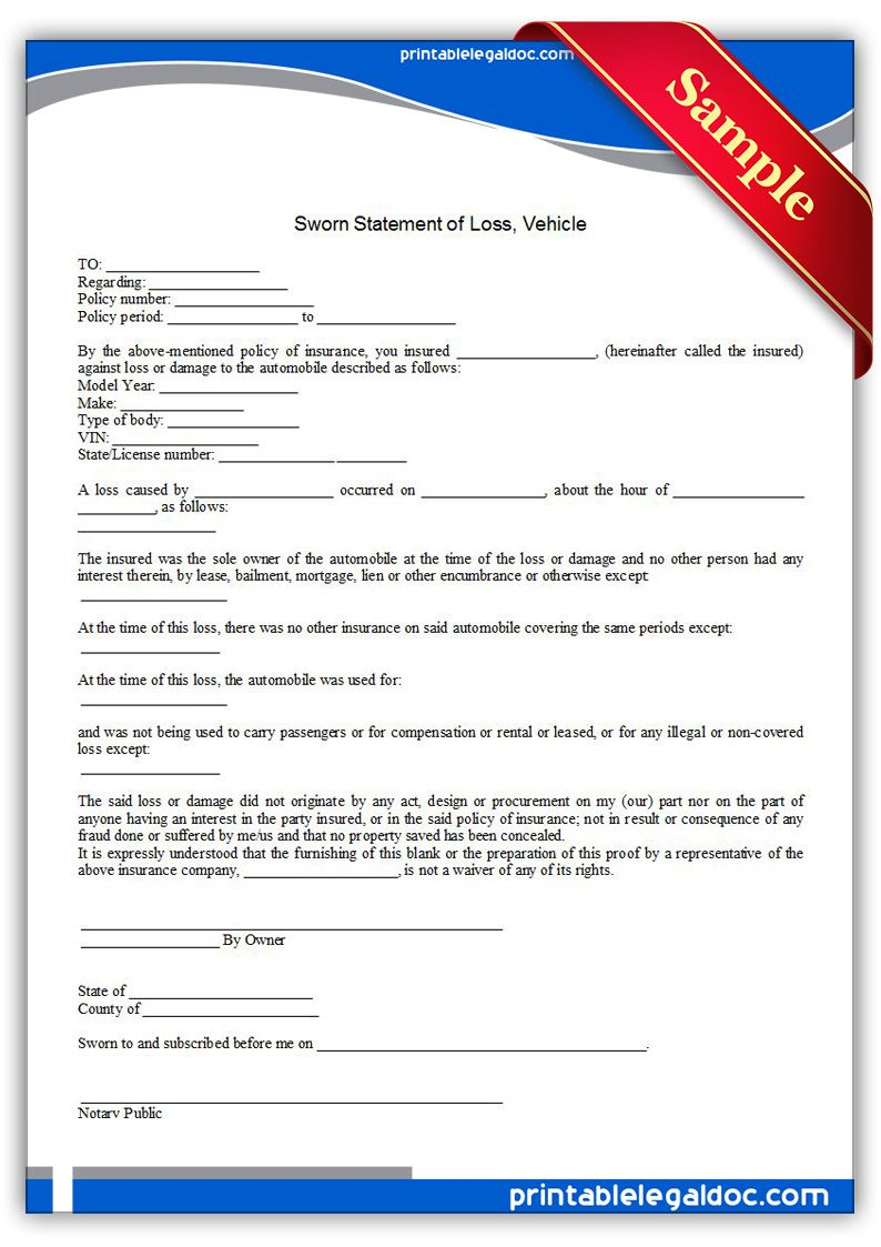 Free Printable Sworn Statement Of Loss Vehicle Form Generic