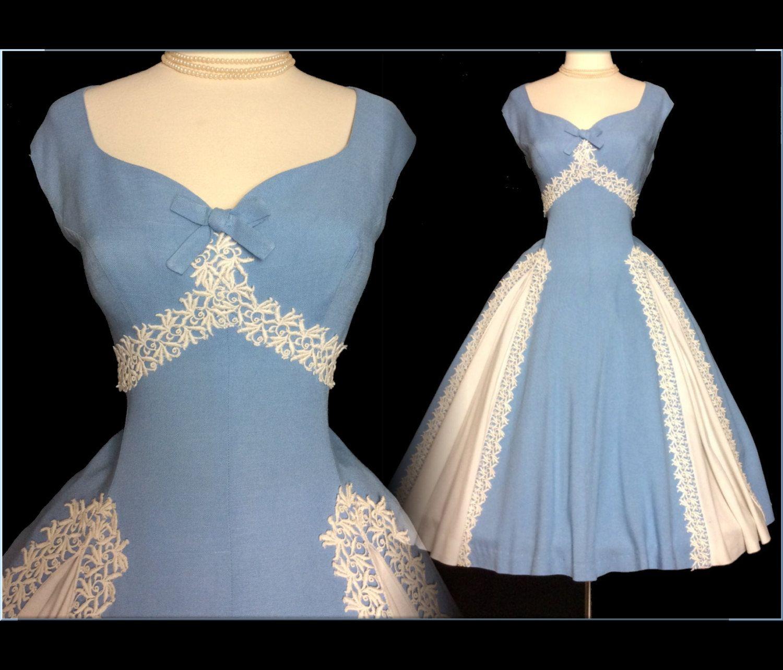 Vintage 1950s Dress//Blue//50s Dresss// Garden Party//New Look//Mod ...