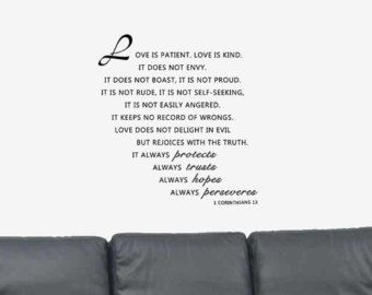 Love Is Patient Bible Verse Quote 1 Corinthians 13 Vinyl Wall Art Decal Sticker Home Decor Put The Writing On The Wall And Photo Gallery S Christian W
