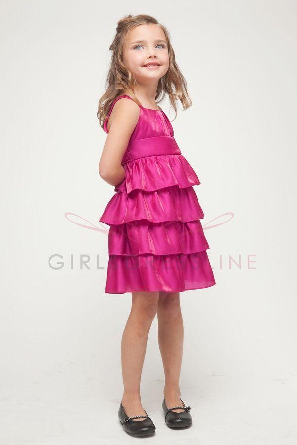 Fuchsia Shimmer Satin Multiple Layered Short Flower Girl Dress ...