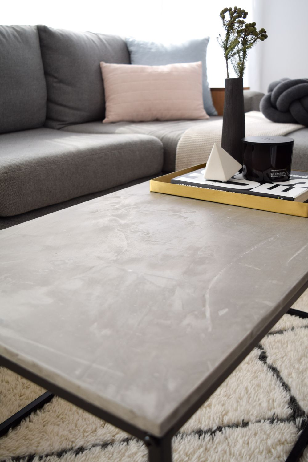 Kmart hack coffee table: Cheap veneer to luxe concrete top