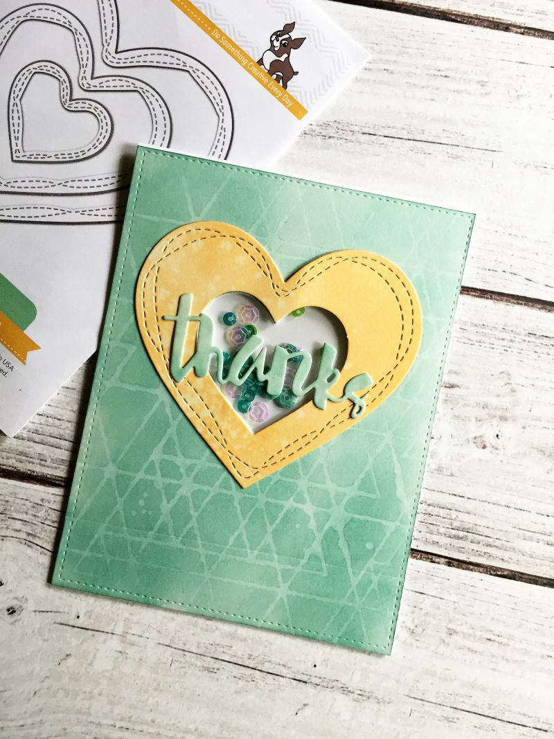 wonky hearts card using a simon says stamp die set