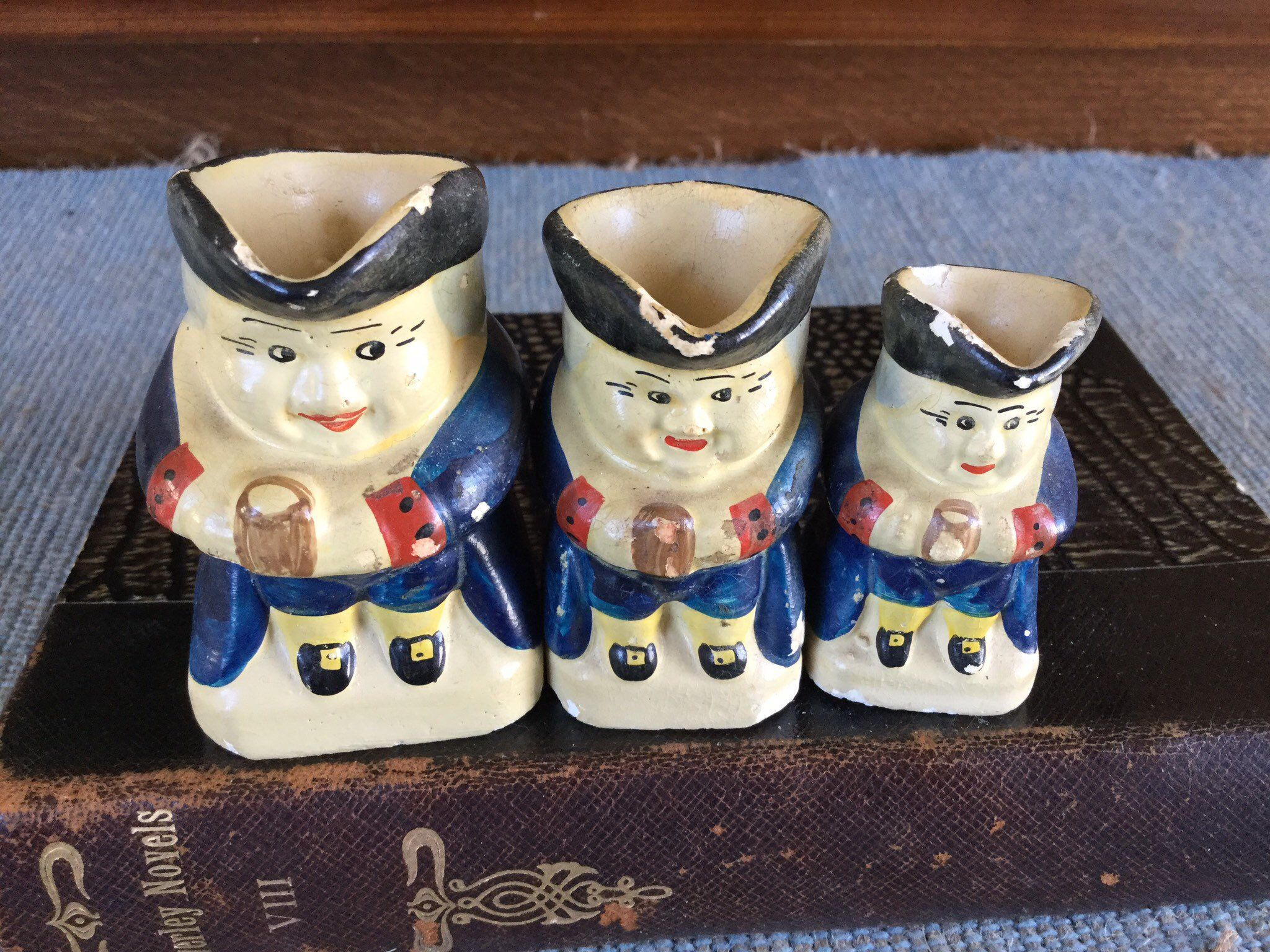 Antique Miniature Chalkware Toby Pitchers / Set of 3 in ...