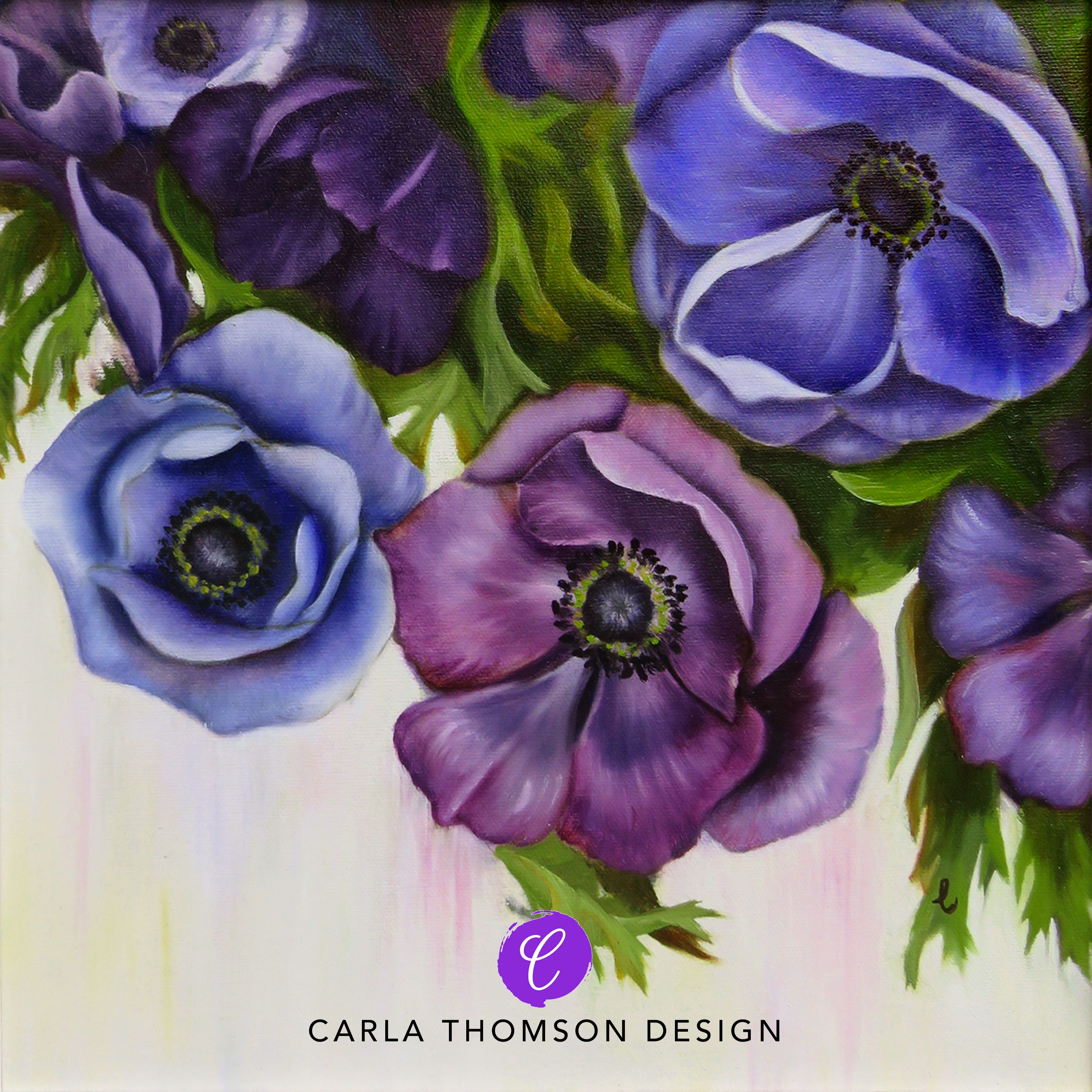 One In A Set Of Two Original Art Oil Painting Anemone Flowers In Blue Purple White And Green On Canvas Frame Floral Painting Art Painting Oil Flower Painting