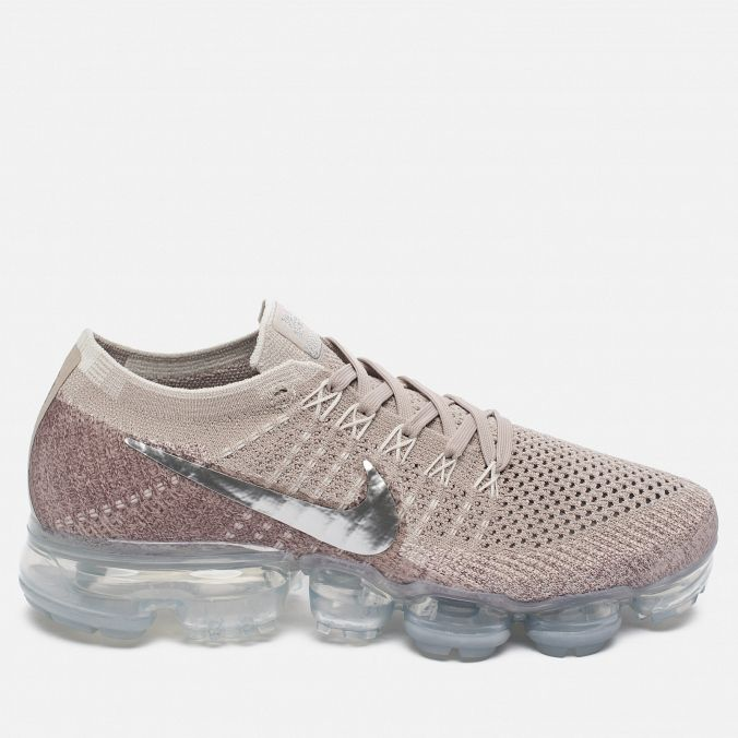 100bc75d Женские кроссовки Nike Air Vapormax Flyknit String/Chrome/Sunset Glow/Taupe  Grey