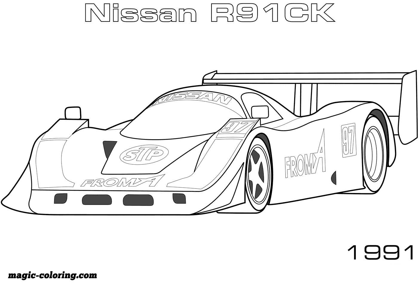 1991 Nissan R90c Coloring Page Sports Coloring Pages Coloring Pages Race Car Coloring Pages