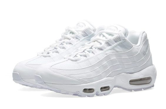 new product eb494 f46c8 The Nike Air Max 95 Dons The Triple White Color Scheme