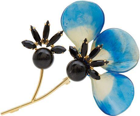 Marni Blue Petal Horn Brooch in Blue