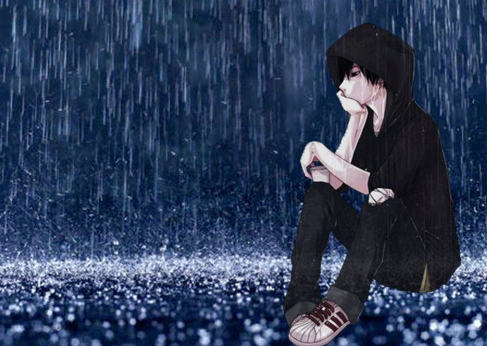 New Anime Guy Anime Boy Sitting In The Rain Hd Wallpaper