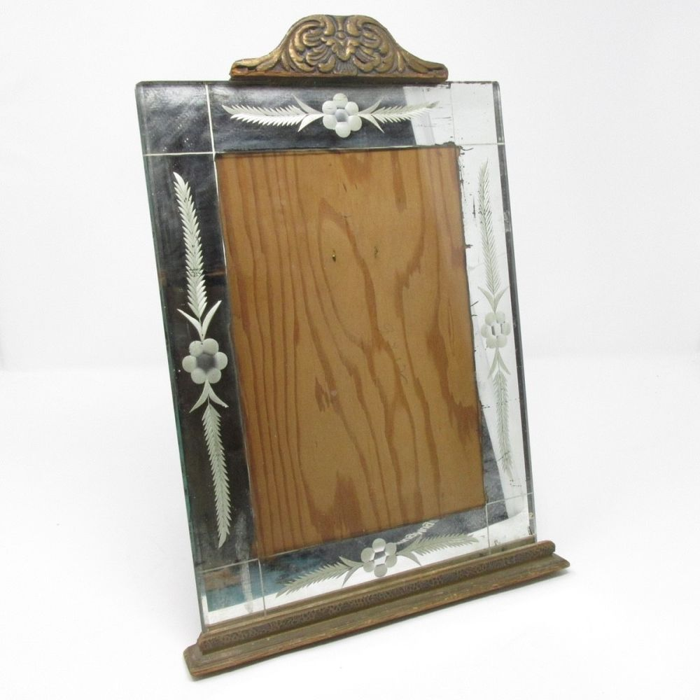 Antique etched mirror reverse painted glass picture frame art deco antique etched mirror reverse painted glass picture frame art deco wood easel jeuxipadfo Image collections