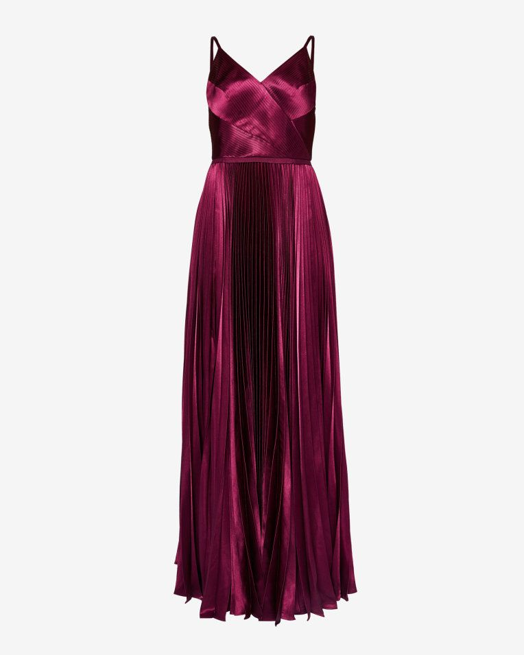 ASOS Pleated Paneled Satin Maxi Dress - Lyst