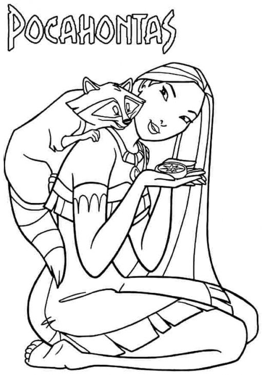 Pocahontas Relaxed With Meeko Disney Princess Coloring Pages