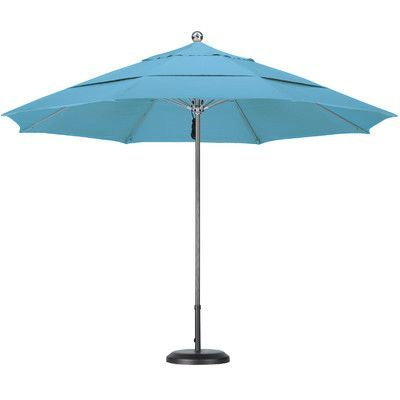 California Umbrella 11' Market Umbrella Fabric: Olefin-Frost Blue, Frame Finish: Silver Anodized