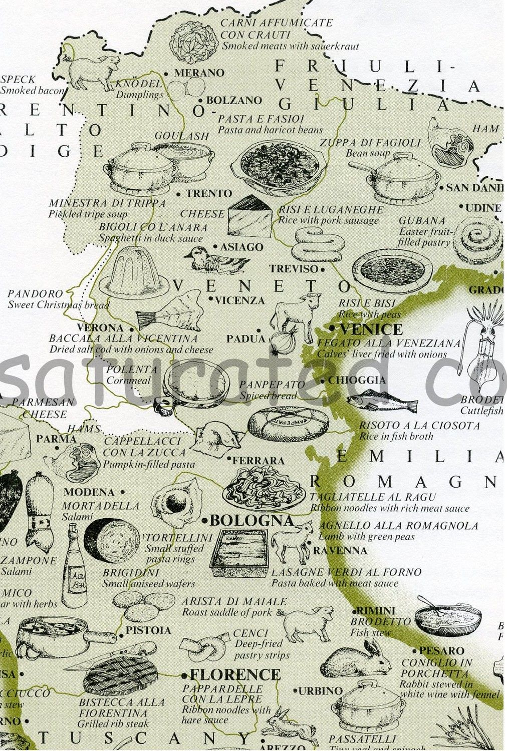 Map Of North East Italy.Vintage Italy Map Florence Tuscany Food Map North East Italy