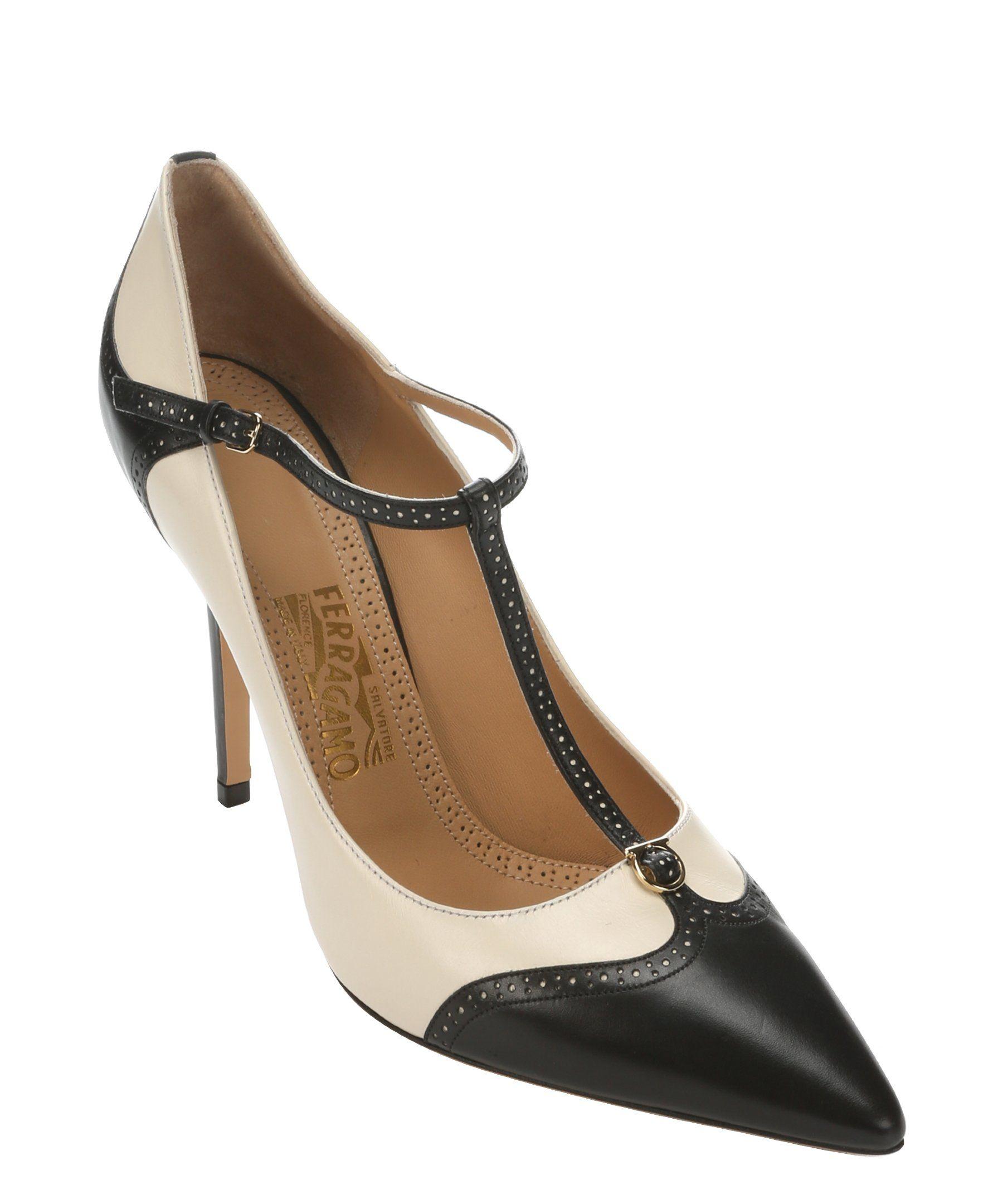 Salvadore Ferragamo Black and Beige Nalia T-Strap Heel