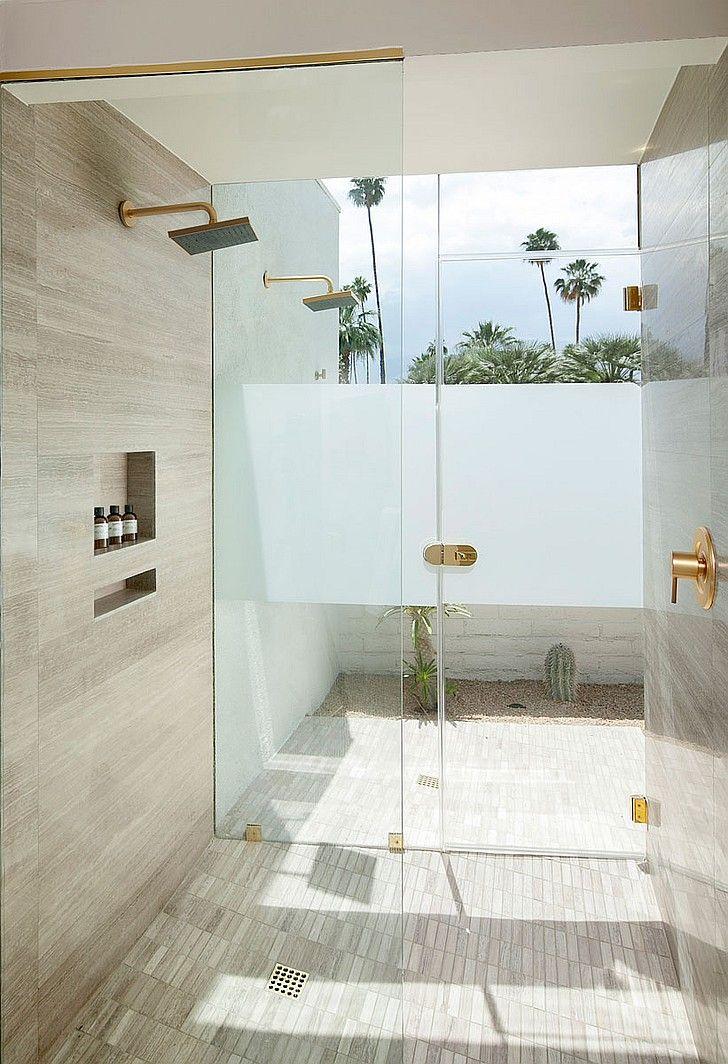 7 Breathtaking Bathrooms   A bathroom at L'Horizon Resort and Spa in Palm Springs, California by Steve Hermann Design. #design #interiordesign #interiordesignmagazine #projects #bathrooms