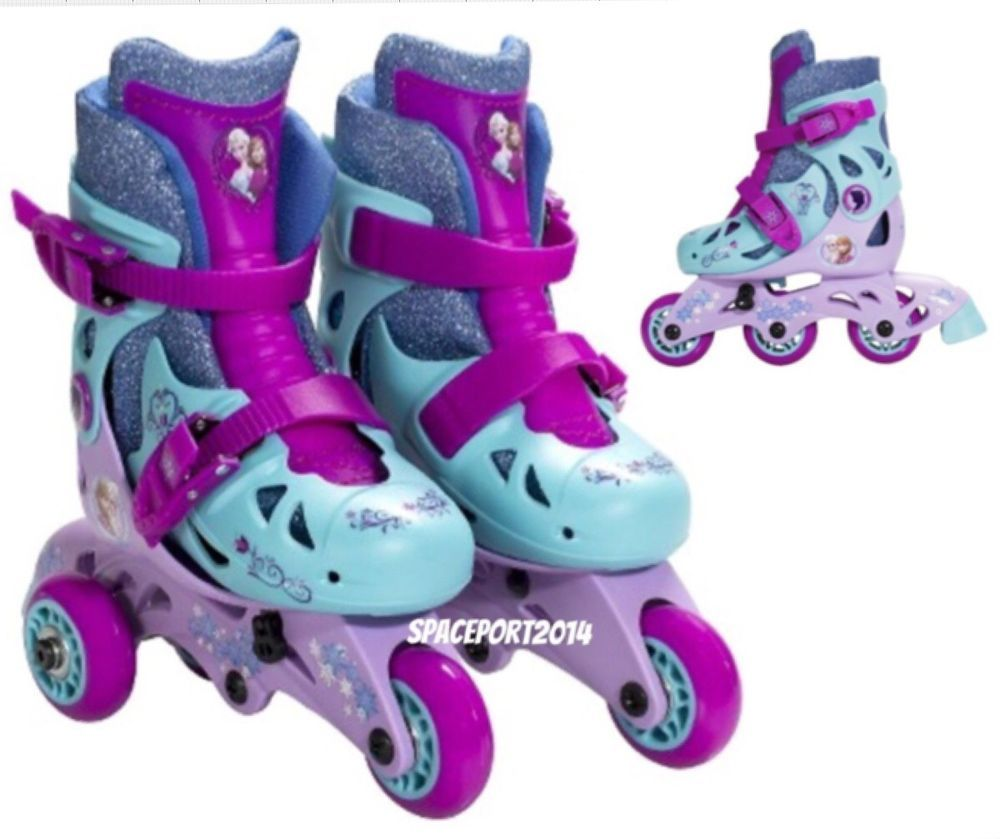 8f23e0d2005 Kids Disney FROZEN Anna+Elsa Convertible ROLLER SKATES Inline Blades Age  3-6 Set  Disney