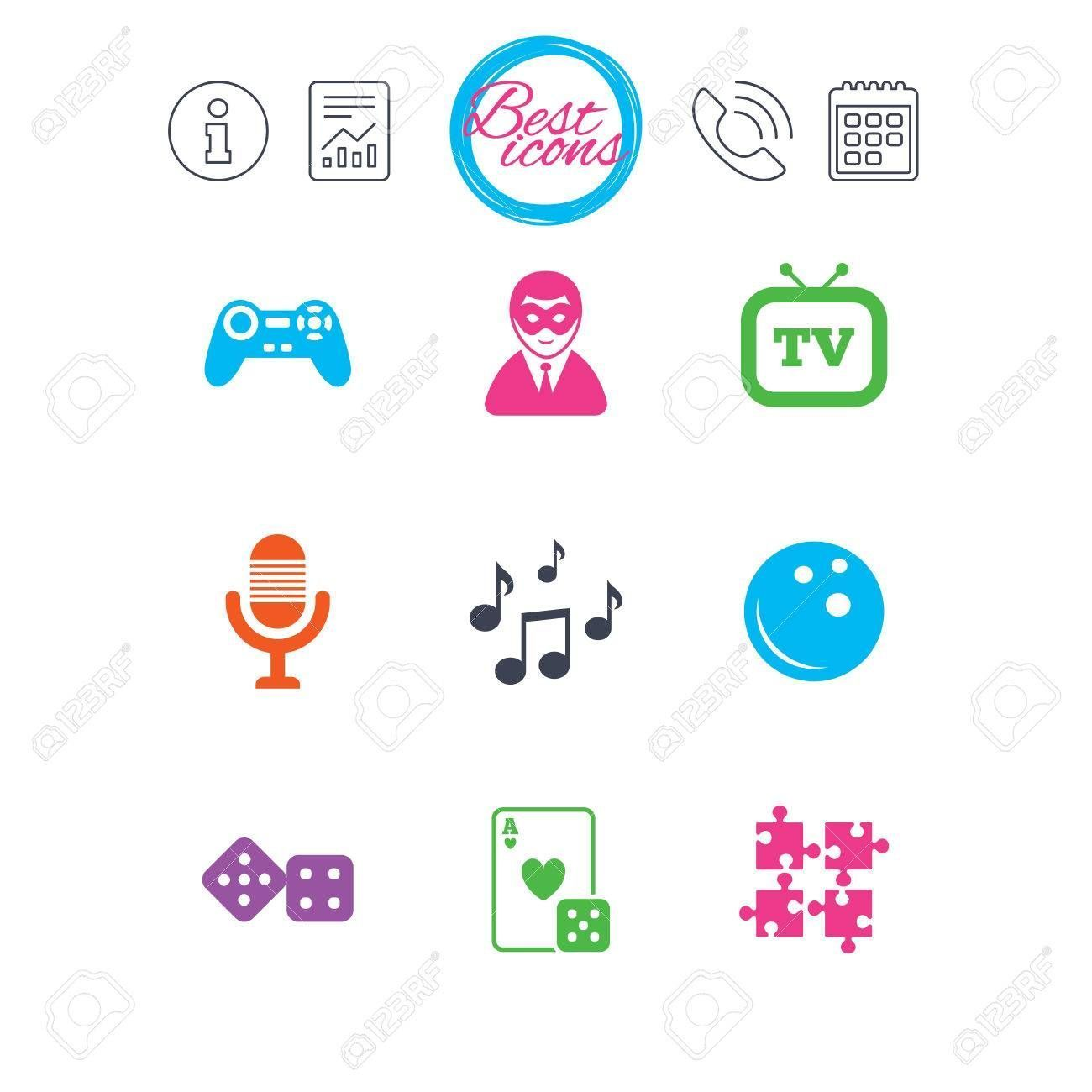 Information report and calendar signs Entertainment icons Game bowling and puzzle signs Casino carnival and musical note symbols Classic simple flat web icons Vector  sym...