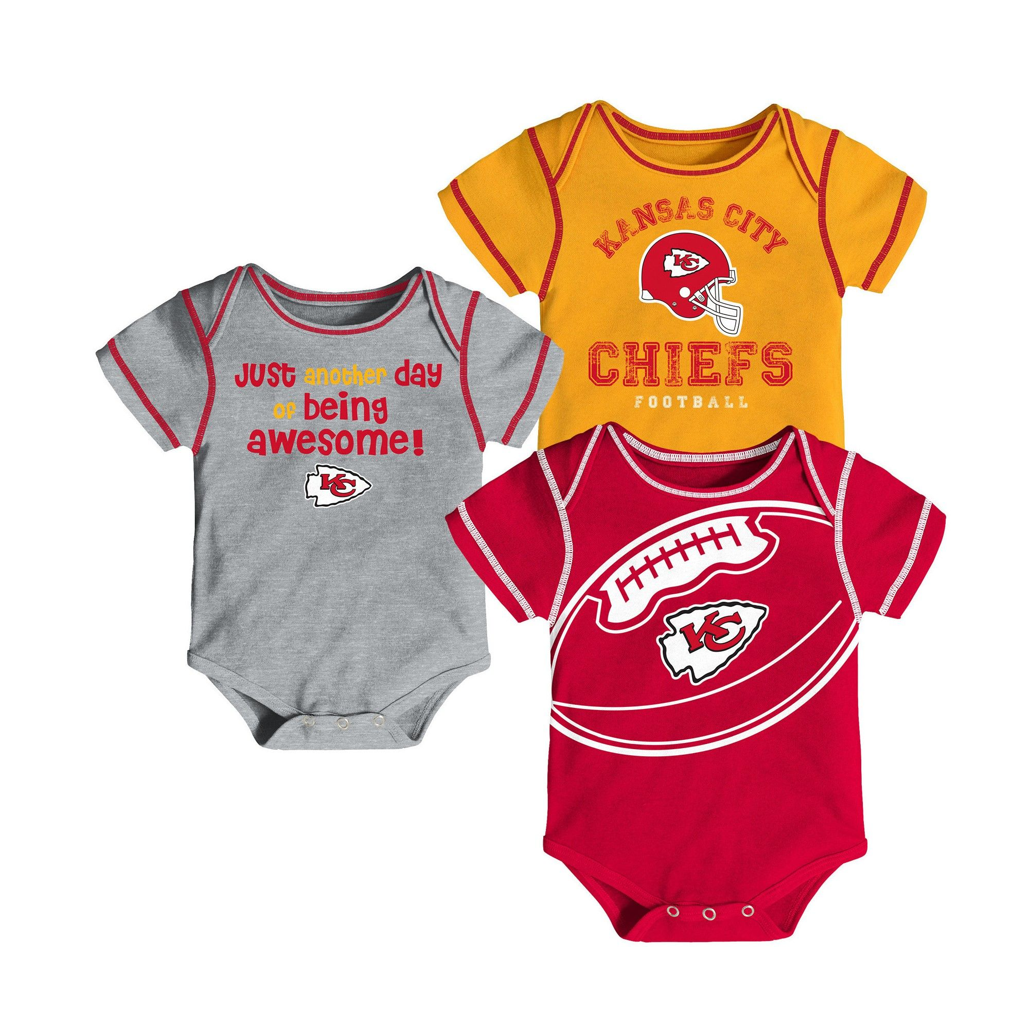 Kansas City Chiefs Baby Boys Awesome Football Fan 3pk Bodysuit Set
