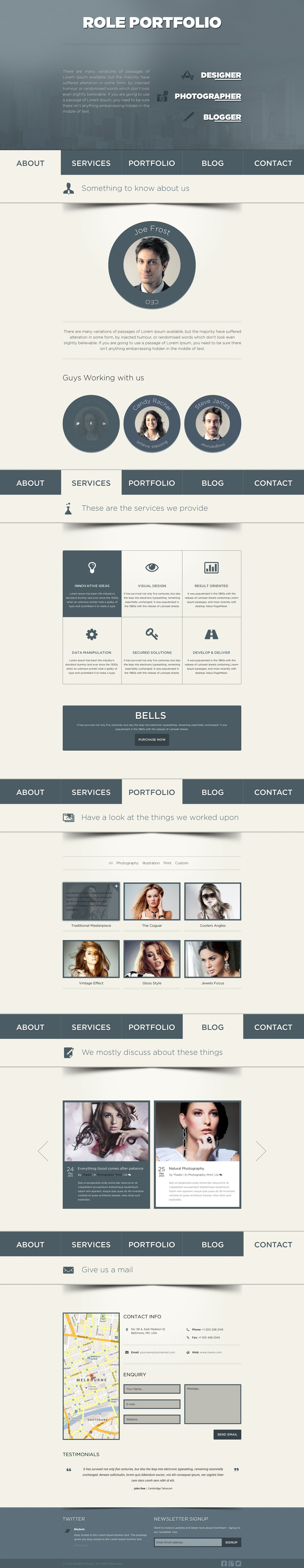 Role is a Vibrant One Page / Single Page HTML5 Template designed for ...