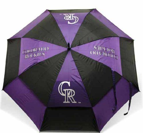 """MLB Colorado Rockies Umbrella, Purple by Team Golf. $27.99. Auto open button. Double canopy wind protection design. 100-Percent nylon fabric. 4 location imprint and printed sheath. 62"""" Umbrella. 50% nylon/35% plastic/20% rubber. 62"""" double-canopy umbrella with multi-colored panels and full color durable imprint.  Includes an easy grip molded handle.  Withstands strong winds."""