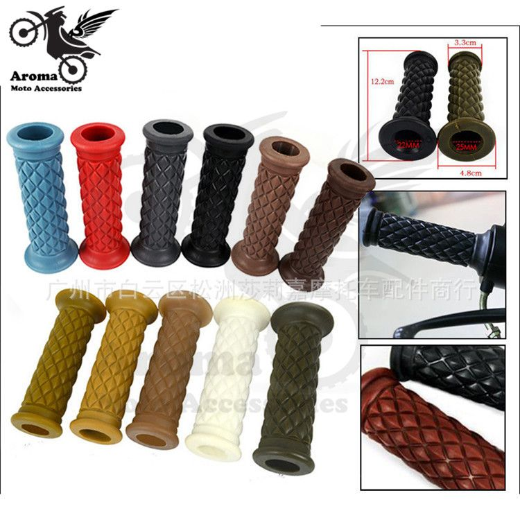 11 Colors Available Hot Retro Colorful Decal 22mm 25mm Rubber Motorbike Handle Grip For Harley Motorcycle Vintage Cafe Racer Cafe Racer Parts Motorcycle Handle