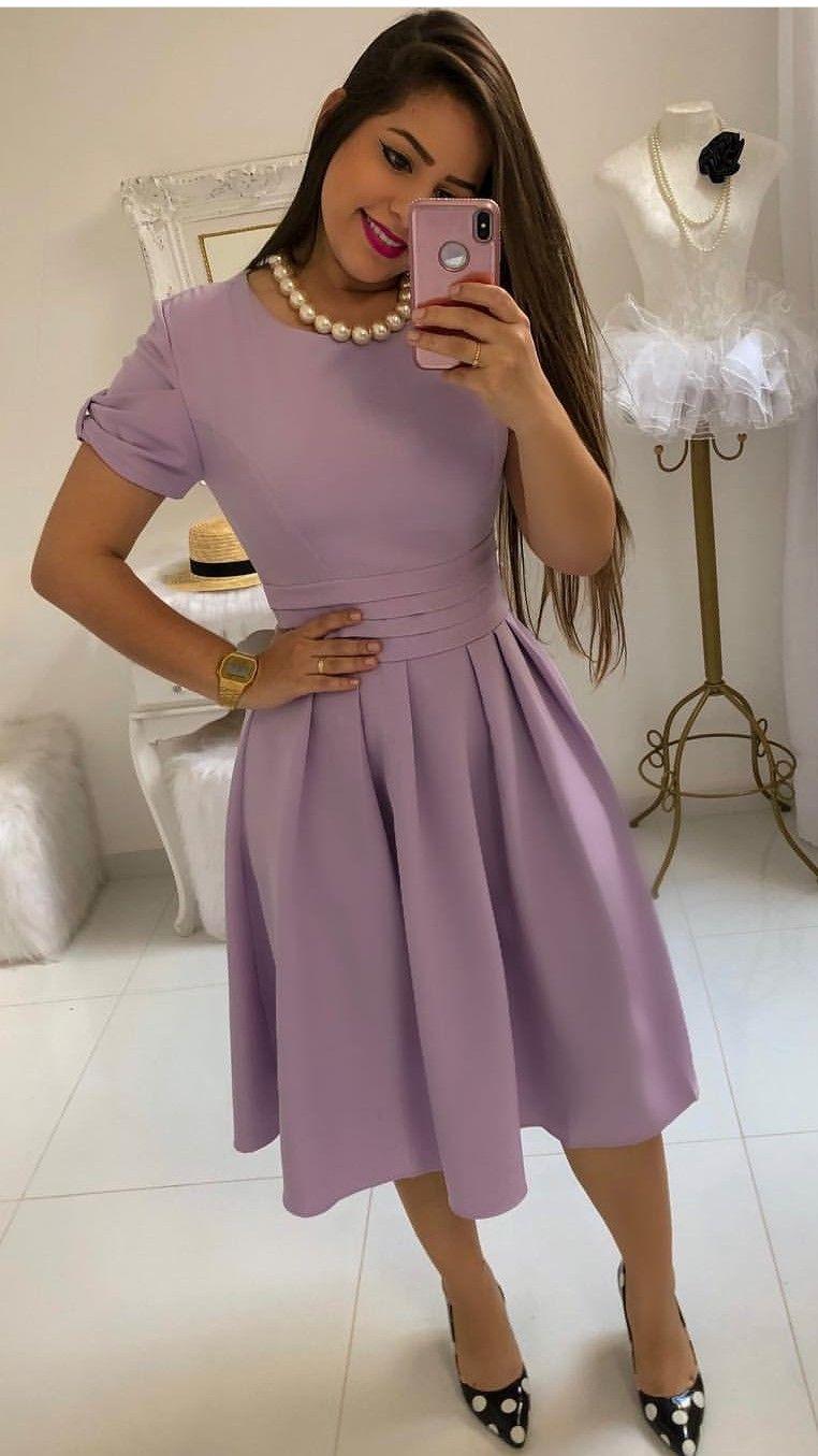 eca038bc7 Vestido lila con pliegues en la cintura 💜