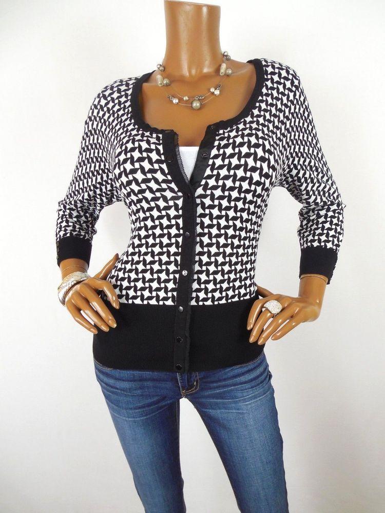 WHITE HOUSE BLACK MARKET Womens Top L Snap Front Cardigan Blouse 3/4