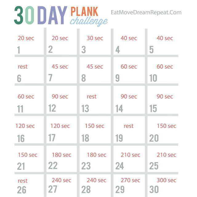 Ridiculous image regarding 30 day plank challenge printable