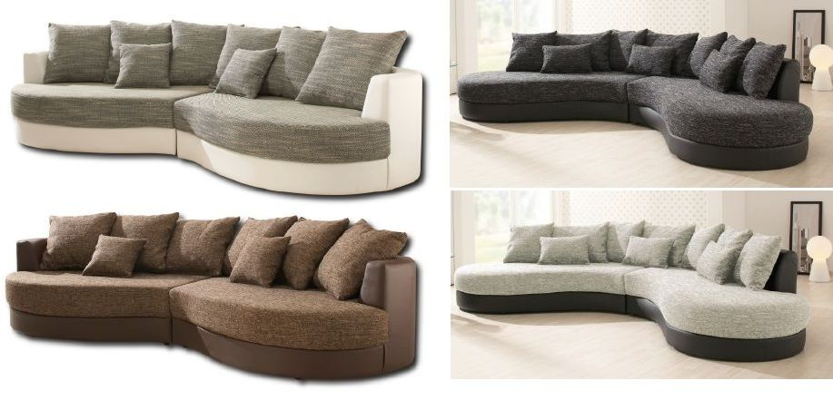 Ovale Designer Polsterecke Oval Rund Couch Sofa Inkl Kissen Hocker Sectional Couch Couch Furniture