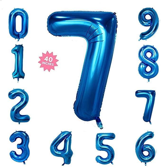 Amazon Com 40 Inch Blue Jumbo Digital Number Balloons 7 Huge Giant Balloons Foil Mylar Balloons For Birthday Birthday Balloons Mylar Balloons Number Balloons
