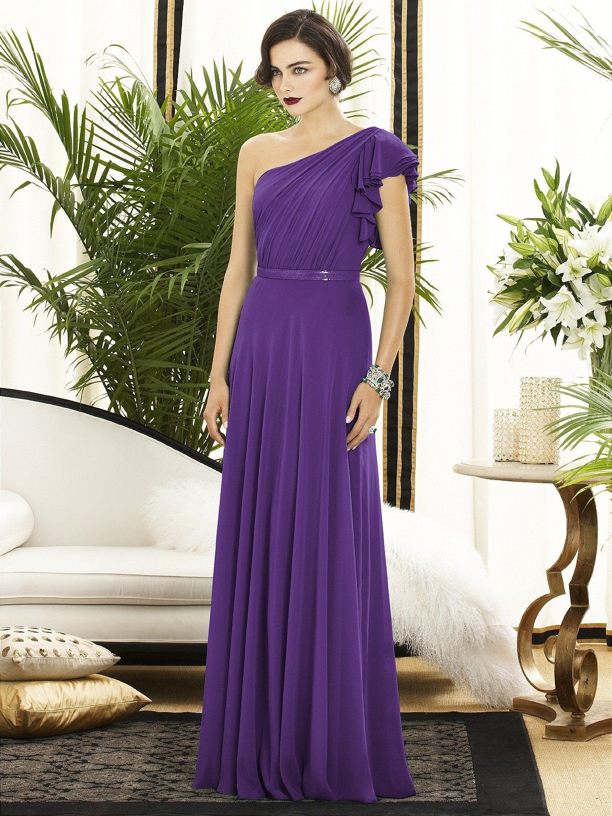 Floor-length A-line Natural Backless Purple Sleeveless Sash-Ruched ...
