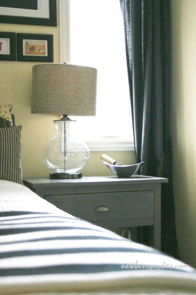 Farmhouse Bedside Table made from plans by Ana White | Pinned from NewberrySykes.com