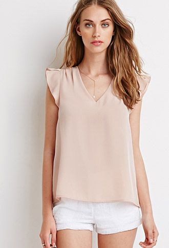 df905babd78aa7 Tulip Sleeve Satin Blouse | Forever 21 - 2002247522 | Summer Outfits ...