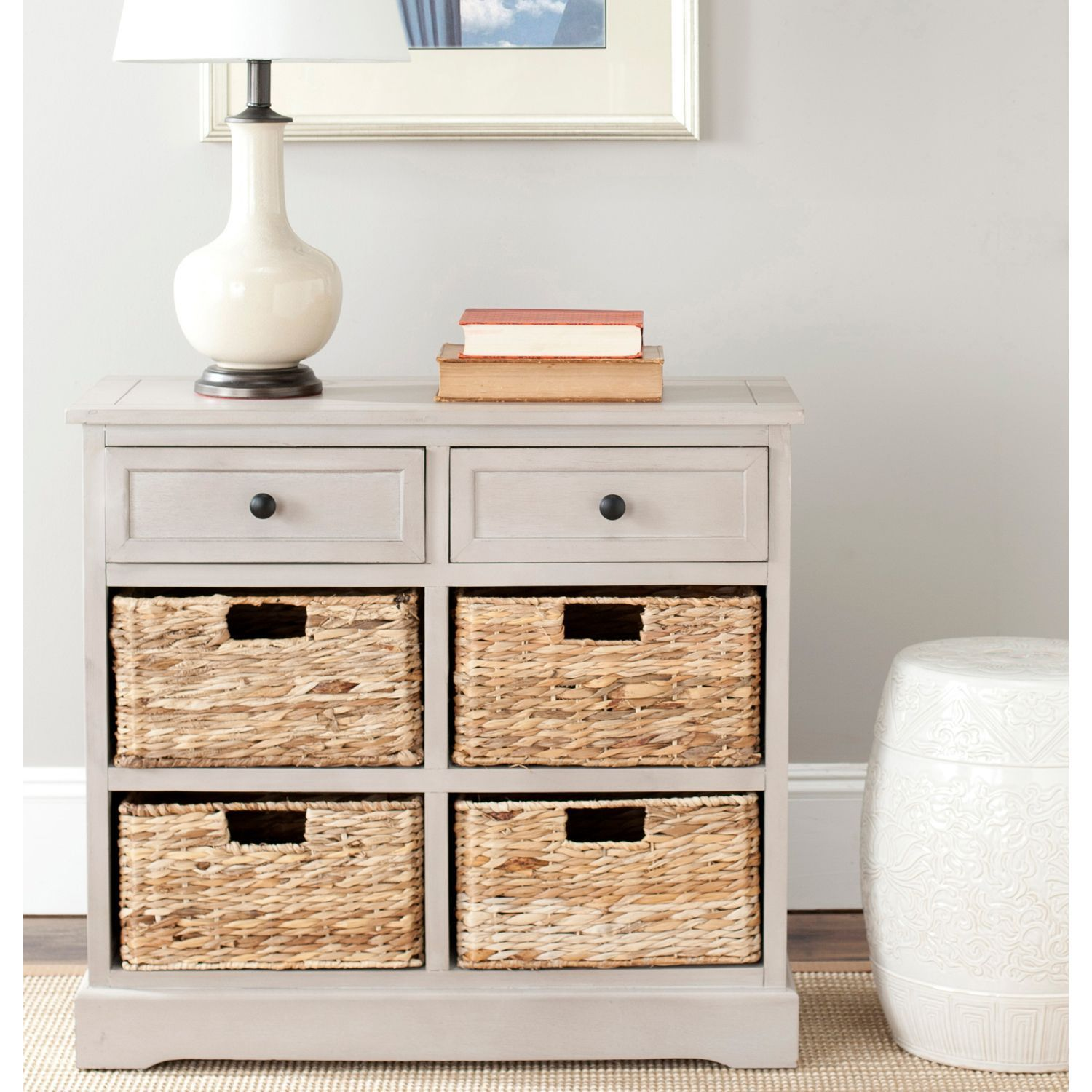 Ryan gray storage cabinet with wicker baskets pier imports