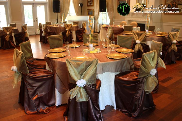 Gold brown and orange fall wedding reception table setting decor ...